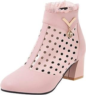 ELEEMEE Women Block Heel Ankle Boots Zip Cut Out