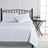 Wellbeing Sheet Set Hypoallergenic Queen Printed Bed Sheets Washable Wrinkle Polyester Microfiber Bedding Sheet Sets with 16' Deep Pockets - Alloy Gray, 4 Pieces
