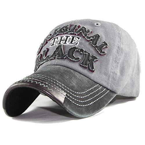 Gorra de bisbol Lavada revestida de algodn Gorra con Parche Bordado Negro