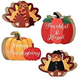 Pinkunn 4 Pieces Fall Signs Thanksgiving Table Decorations Wooden Pumpkin Turkey Signs Wood Tabletop Standing Decors Thanksgiving Wood Sign Table Centerpieces for Autumn Harvest Home Kitchen Decors