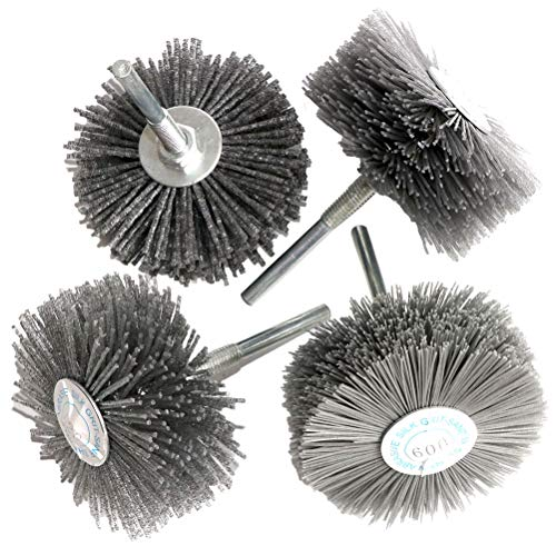 4PCS Abrasive Wire Nylon Wheel Brush for Woodwork Grinding Polishing Grit80/120/240/600,with 1/4' Shank