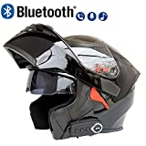 LuanYe Motorcycle Bluetooth Helmets Full Face Flip up Dual Visors Helmet Built-in Integrated Intercom Communication System (Black, M-22.44'-22.83')