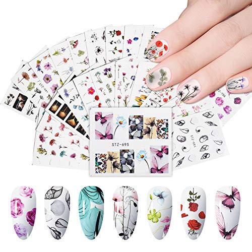 EBANKU 24 Blatt Nail Art Supply Decals Wassertransfer Nagelaufkleber für Frauen DIY Flower Leaf Designs Nail Art Aufkleber für Fingernägel & Zehennägel Dekor Beauty Dekorationen