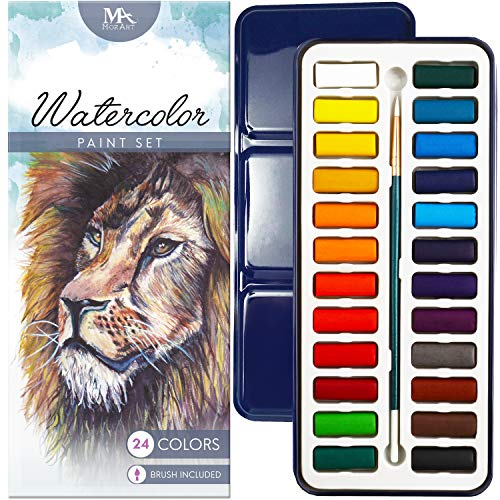 Watercolor Paint Essential Set - 24 Vibrant Colors - Lightweight and Portable - Perfect for Budding Hobbyists, Adults and Professional Artists - Paintbrush Included - MozArt Supplies