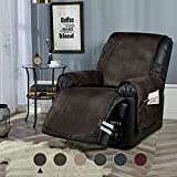 """STONECREST Recliner Chair Cover, Water Resistant Faux Leather Slipcover, Washable Furniture Protector for Pets, Seat Width Up to 23 Inch with Straps(Chocolate, 23"""" Recliner)"""