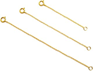 Necklace Extenders for Women - 14K Gold Filled, 925 Sterling Silver, Rose Gold Filled, Fine Chain, Dainty Durable Strong Removable, Made in USA, Set of 3