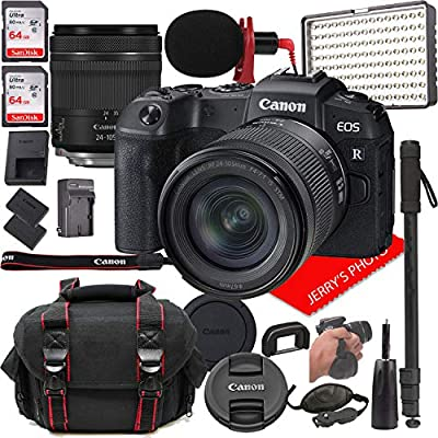Canon EOS RP Mirrorless Digital Camera Bundle with 24-105mm f/4-7.1 STM Lens + LED Video Light, Microphone, Monopod, and More (24pcs) by Canon Intl.