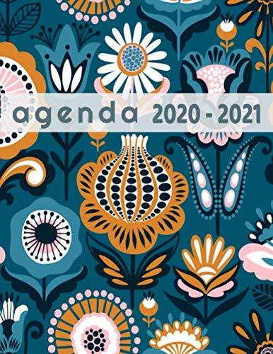 agenda 2020 2021: Agenda journalier et agenda semainier XL grand format (A4) pattern floral pour lycée collège garçon fille ado homme femme ... Une page par jour! (French Edition)