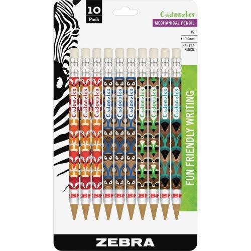 Zebra Cadoozles Mechanical Pencil, #2, Assorted Barrels, 0.7 mm, 10/Pack