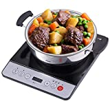MIDEA Cookware 1500W Sensor Touch Electric Countertop Burner 4D Induction Cooktop Stainless Steel Pot, 11142.3, Black