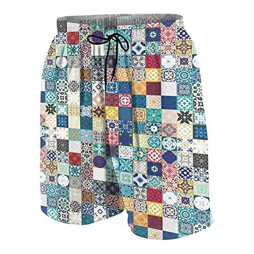 Hombres Casual Pantalones Cortos,Patrón oriental oriental marroquí con diseño de azulejos de adorno de mosaico de estilo de cuadrícula asiático,Traje de Baño Playa Ropa de Deporte con Forro de Malla