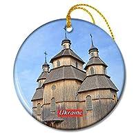 ウクライナ木造教会クリスマスオーナメントセラミックシート旅行お土産ギフト