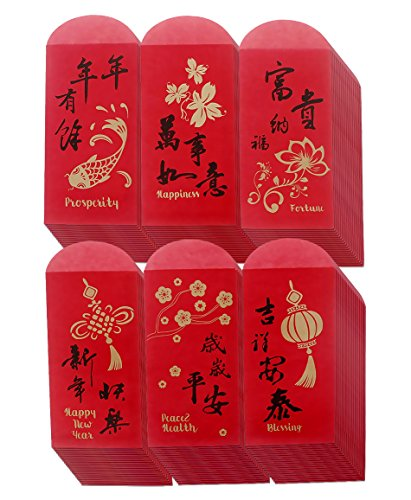 Red Chinese New Year Money Envelopes for Hong Bao (3.5 x 6.9 In, 120 Pack)
