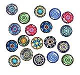 Juego de 24 imanes para nevera, decoración de cabujones de cristal con patrón de mandala, imanes 3D para nevera, pizarra magnética, pizarra blanca, tablón de anuncios, etc. (redondos, 30 mm)