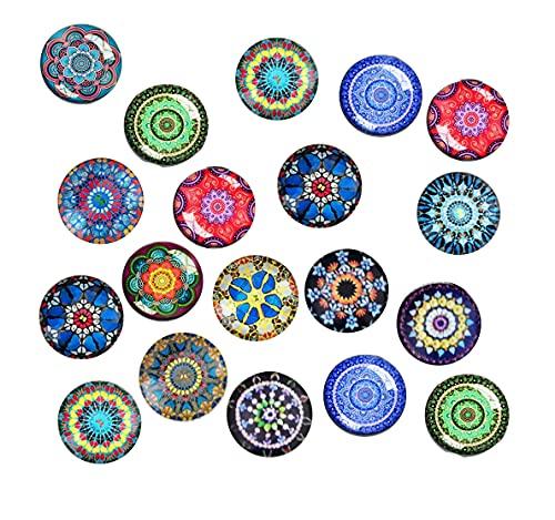 24 imanes de nevera – decorativos de cristal 3D con patrones de mandala, para dibujo de niños, pizarra magnética, foto, mapa, imanes de oficina (redondo/30 mm)