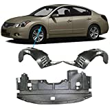 New Front Fender Liner Left Driver & Right Passenger Side + Engine Splash Shield Under Cover Plastic For 2009 - 2014 Nissan Maxima Sedan Models Direct Replacement 75890JA00E 63843ZX70A 63842ZX70A