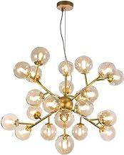 Hanglamp, ADN, molecule, kroonluchter, 24 lampen, moderne stijl, loft, frame van metaal, kleur goud, lampenkap van transpa...