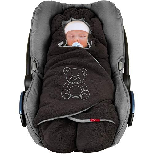 """ByBoom Baby Winter-Einschlagdecke\""""Das Original mit dem Bären\"""", Universal für Babyschale, Autositz, z.B. für Maxi-Cosi, Römer, für Kinderwagen, Buggy oder Babybett"""