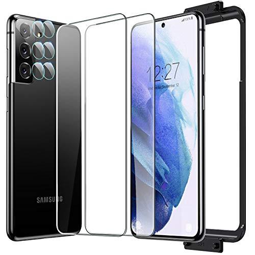 Humixx Kompatibel mit Samsung Galaxy S21 Panzerglas und kamera panzerglas [2 Stück ] Ultra Dünn Flexibles Weiches Glas 9H Hart Schutzfolie mit Keine Verzögerung Fingerabdruck entsperren