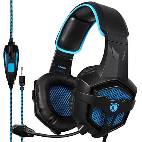 Sades SA807 Stereo Gaming Headsets Over Ear Heaphones with Microphone Noise Isolating for New Xbox one PS4 PC Mobile(Black & Blue) Headsets
