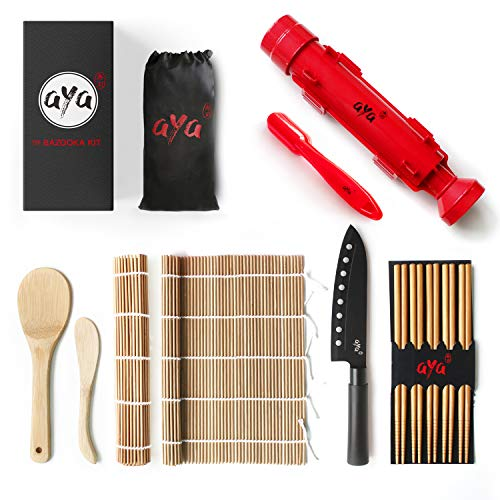 Sushi Making Kit - Original Aya Bazooka Kit - Sushi Knife - Video Tutorials - Sushi Maker - 2 Bamboo Mats - Paddle Spreader - 5 x Chopsticks