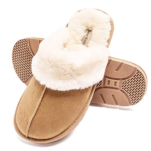 Master Komfy Women's Comfy House Slippers Scuff Faux Fur House Shoes W/Indoor Outdoor Anti-skid Rubber Sole