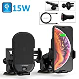 Techsmarter 15W Qi Wireless Car Charger, Fast Charging Cell Phone Mount Holder, Automatic Sensor Clamping Dashboard Air Vent. Compatible with iPhone 11, X, XS, XR, 8, Samsung S10, S9, S8, Note