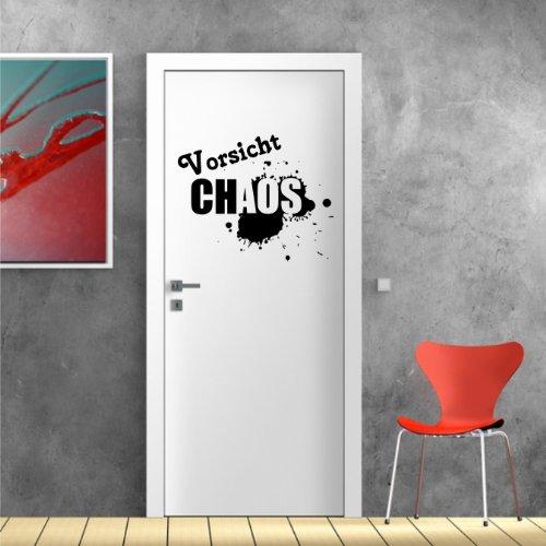 Stickerkoenig Türaufkleber, Wandsticker Wandtattoo - Vorsicht Chaos - Wandaufkleber original (Größe: 40x32cm) Seidenmatt - freie Farbwahl Neu