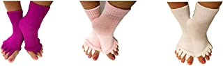 Triim Fitness Toe Separator Yoga Gym Sports Massage Socks for Foot Alignment, Great for Sore Feet and Diabetics with Free ...