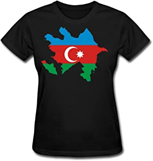JWZT-KN Women's Azerbaijan Flag Map Tshirt