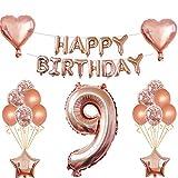 Oumezon 9 Geburtstag Mädchen Dekoration Rose Gold, 9. Geburtstag deko für Mädchen Jungen Happy Birthday Girlande Banner Folienballon Konfetti Luftballons Deko Geburtstag Party Anzahl Ballons