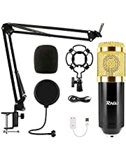 NATUR Professional Metal Studio Condenser Microphone Kit BM800 with Pop Filter - Scissor Arm Stand - Shock Mount for Studio Recording Podcasting Broadcasting (Bm-800 Golden)