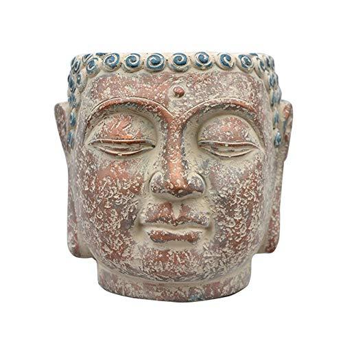 SDBRKYH Escultura de la Cabeza de Buda Tiesto, Busto Jardín Creativo Buda Busto Estatua de Buda Creativo decoración Retro suculento de Pot 20 * 22cm