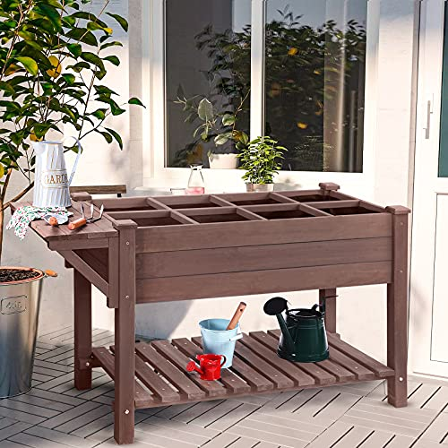 Raised Garden Bed, Elevated Plant Boxes Outdoor Large with Grow Grid - with Large Storage Shelf 52.7' x 22' x 30'