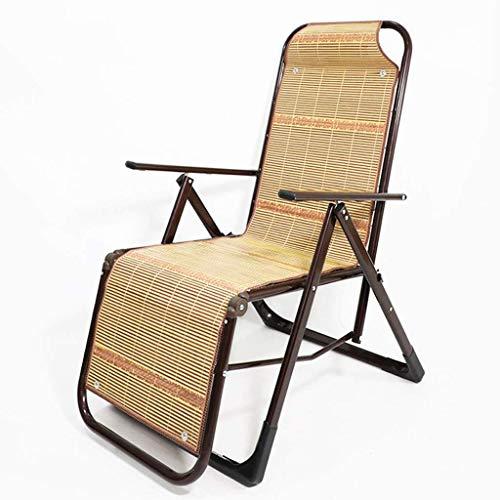 FTFTO Chaise Longue Office Life Chaise Longue Chaises inclinables de Patio, avec Coussins en Bambou pour Personnes Lourdes Transats extérieurs réglables (Couleur: Tube Rond)