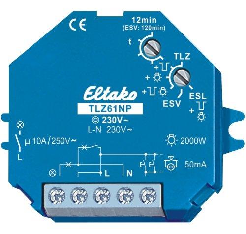 Eltako 4959389 Treppenlicht-Zeitschalter TLZ61NP-230V, blau, 50x50x18 mm