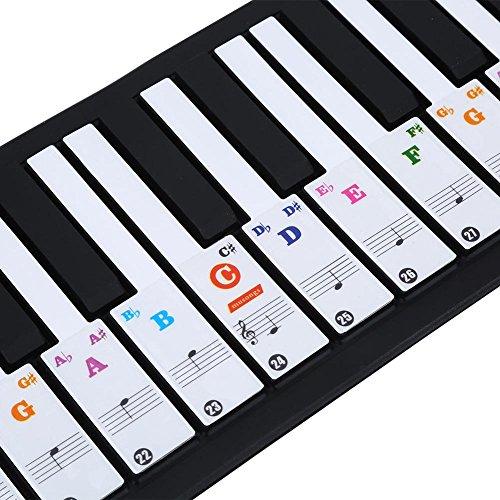 Klavier-Aufkleber, Keyboard Aufkleber, 61/88 Tasten Abnehmbar Tastatur Aufkleber für Kinder Anfänger Einfache Anleitung(Farbig)