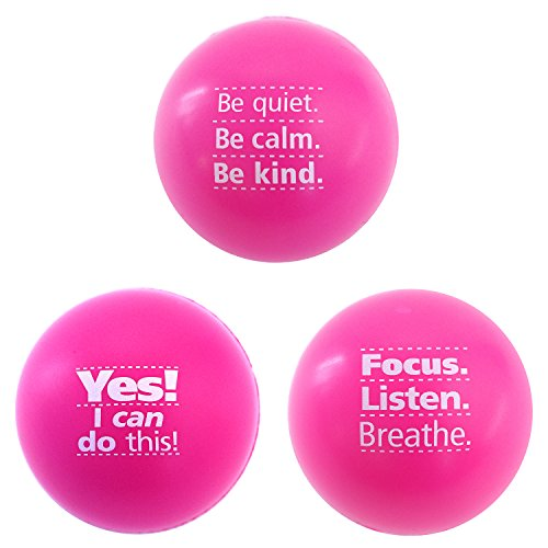 Teacher Peach Stress Relief Balls, Cute Fidget Toys for Kids, Teens, and Adults, Perfect Motivational Gift for Women - Pink 3 Pack