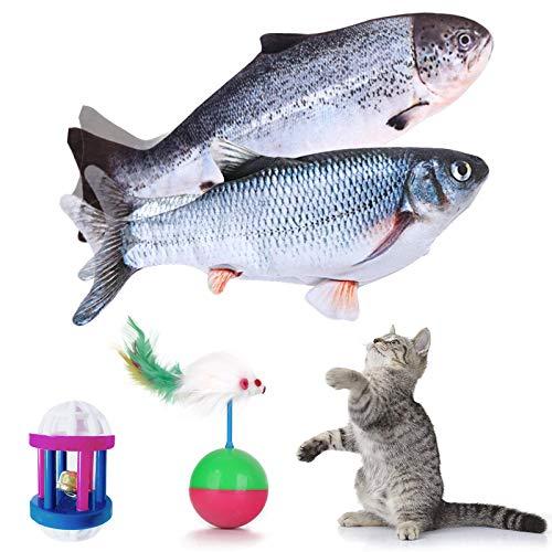 Giocattoli Elettrici per Pesci, DYBITTS 2PCS Giocattolo interattivo Gatto Simulazione Peluche di Pesce Mordere e Masticare, Giocattoli con Catnip per Gatti Gatto Cuscino con USB Ricaricabile