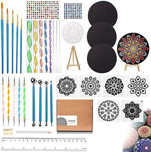 UHAPEER Mandala Dotting Tools, 40 Stück Mandala Rock Punktierung Kits mit 4 Karton, Dot Painting Tool für Acryl Kits Pinsel, Für DIY Art Handwerk, Steine, DIY Malerei...