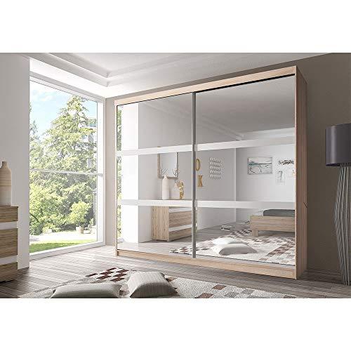 E-MEUBLES Armoire de Chambre avec 2 Portes coulissantes et mirors | Penderie (Tringle) avec étagères (LxHxP): 183x218x61 Ben 10 (Sonoma)