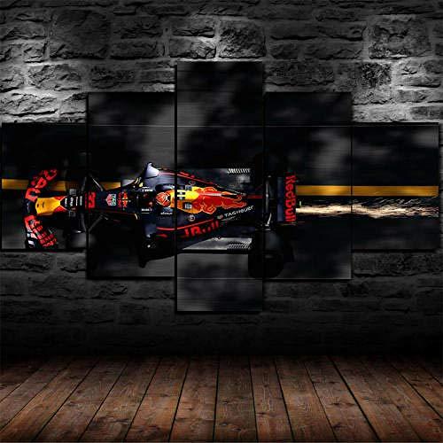 IMXBTQA Stampe E Quadri su Tela 5 Pezzi Tela Wall Art 150X80 Max Verstappen F1 Red Bul Racing Murale Quadri Moderni Soggiorno XXL Casa Corridoio Decor Regalo Creativo