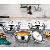 Gülsan Set di pentole in acciaio inox di alta qualità, adatto per tutti i forni, lavabile in lavastoviglie (extra smal 6 pieces)