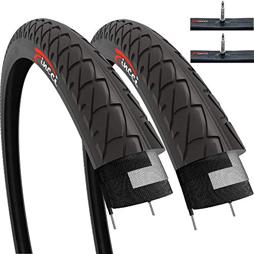 Fincci Set Pair 26 x 2.10 Inch 54-559 Slick Tyres with Presta Inner Tubes for Cycle Road Mountain MTB Hybrid Bike Bicycle (Pack of 2)