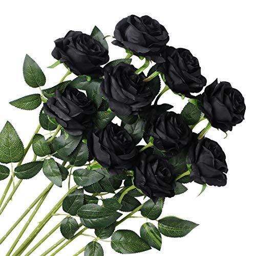 Veryhome 10 Stücke Künstliche Rosen Silk Blumen Gefälschte Flowers Braut Hochzeit Bouquet Für Hausgarten Geburtstag Party Home Wedding Dekor (Schwarz - Blühende Rosen)
