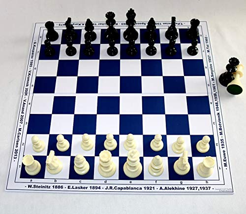 HenRal New Schachbrett schachspiel Schach Set shach Chess Set - Unique Design Eco Champions Names + Years They Won Titles. 40mm Field Blue; - EINZIGARTIGES KLAPPBAR SCHACHBRETTSPIEL-Set N4 BLAU
