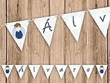 Guirnalda Mi Primera Comunión niño con traje azul. Guirnalda decorativa. Banderines para fiestas. NC011