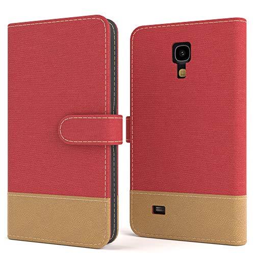 EAZY CASE Tasche kompatibel mit Samsung Galaxy S4 Mini Stoff Schutzhülle mit Standfunktion Klapphülle Bookstyle, Handytasche Handyhülle mit Magnetverschluss & Kartenfach, Kunstleder, Rot