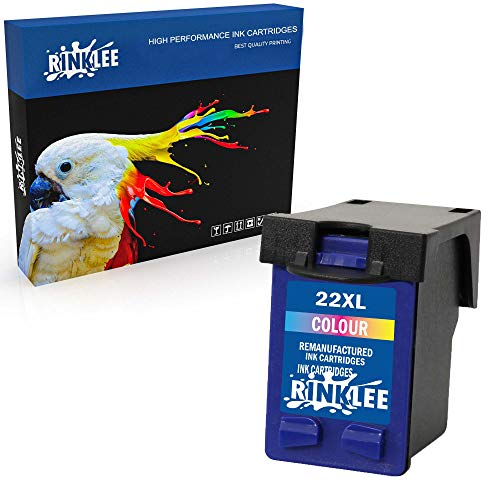 RINKLEE Remanufacturado para HP 22XL Cartucho de Tinta Compatible con HP Deskjet F2120 F2180 F2280 F335 F375 F380 F390 F4180 F4190 3940 D1460 D2360 D2460 Officejet 4315 4355 PSC 1410 1415 | Tricolor