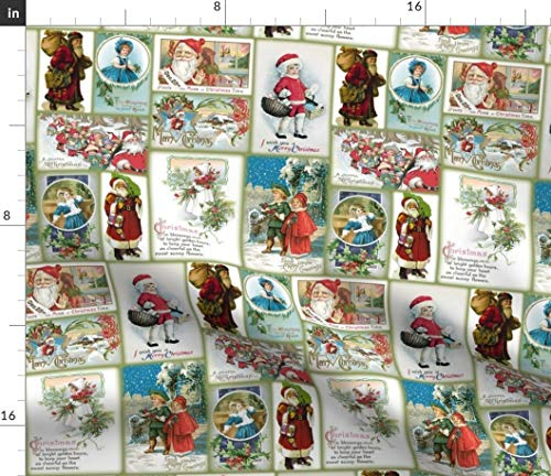 Spoonflower Fabric - Vintage Christmas Cards Santa Claus Children Old Printed on Petal Signature Cotton Fabric by The Yard - Sewing Quilting Apparel Crafts Decor